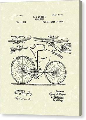 Velocipede 1890 Patent Art Canvas Print by Prior Art Design