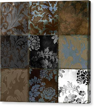 Velvet Patch Cocoa And Blue Canvas Print by Mindy Sommers