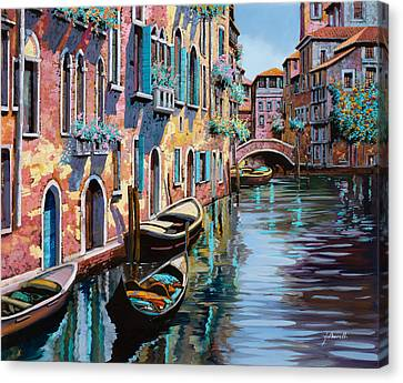 Venezia In Rosa Canvas Print by Guido Borelli