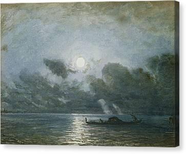 Venice By Moonlight Canvas Print by Felix Ziem