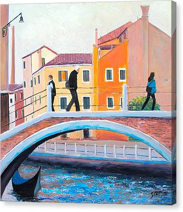 Venice Canal Painting Canvas Print by Jan Matson