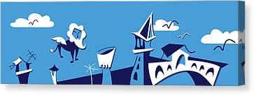 Venice City Skyline - Vector Silhouette Canvas Print by Arte Venezia