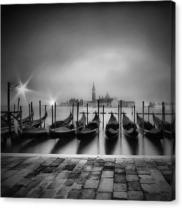 Venice Gondolas On A Foggy Morning Monochrome Canvas Print by Melanie Viola