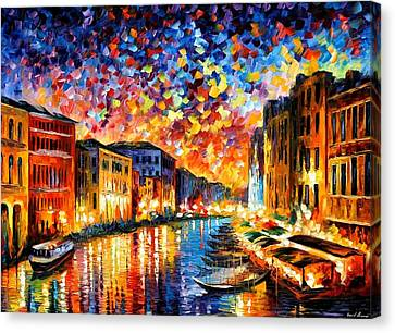 Venice - Grand Canal Canvas Print by Leonid Afremov