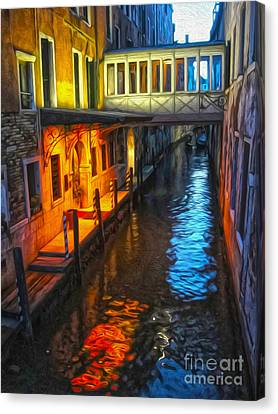 Venice Italy - Colorful Canal At Night Canvas Print by Gregory Dyer