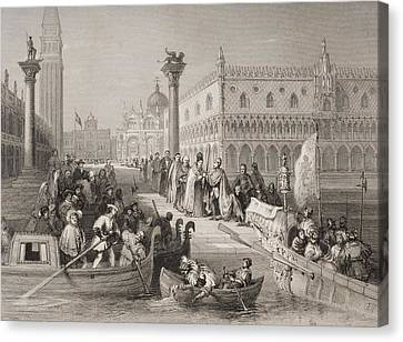 Venice, Italy The Embarkation Of The Canvas Print by Vintage Design Pics