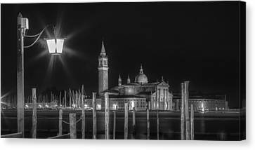 Venice San Giorgio Maggiore At Night Black And White Panoramic View Canvas Print by Melanie Viola