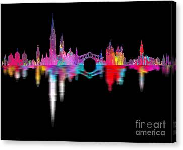 Venice Skyline  Italy Night Canvas Print by Prar Kulasekara