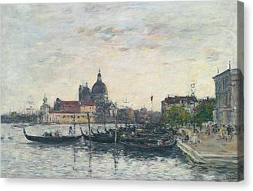 Venice, The Mole At The Entrance To The Grand Canal And The Salute, Evening Canvas Print by Eugene Louis Boudin