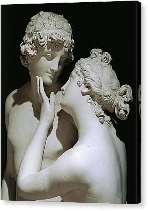 Venus And Adonis Canvas Print by Antonio Canova