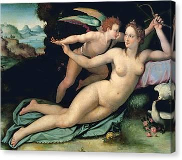 Venus And Cupid Canvas Print by Alessandro Allori