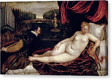 Venus And The Organist Canvas Print by Titian