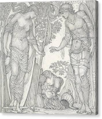 Venus Bringing Armor To Aeneas Canvas Print by Sir Edward Coley Burne-Jones