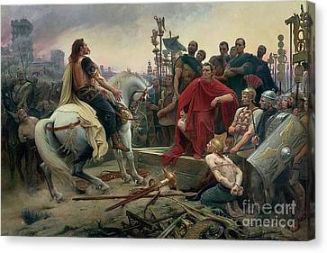 Vercingetorix Throws Down His Arms At The Feet Of Julius Caesar Canvas Print by Lionel Noel Royer