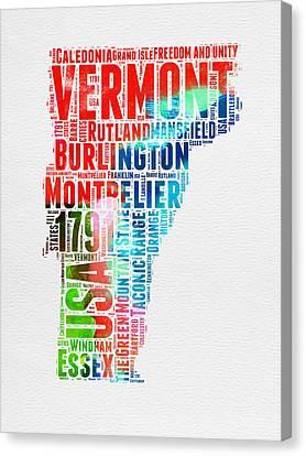 Vermont Watercolor Word Cloud  Canvas Print by Naxart Studio