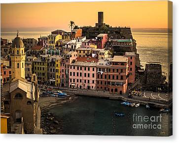 Vernazza At Sunset Canvas Print by Prints of Italy