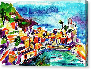 Vernazza Cinque Terre Italy Canvas Print by Ginette Callaway