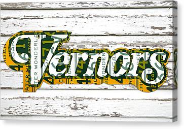 Vernors Beverage Company Recycled Michigan License Plate Art On Old White Barn Wood Canvas Print by Design Turnpike