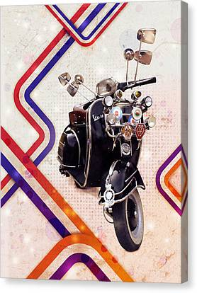 Vespa Mod Scooter Canvas Print by Michael Tompsett