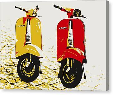 Vespa Scooter Pop Art Canvas Print by Michael Tompsett