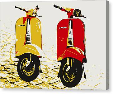 Vespa Scooter Pop Art Canvas Print by Michael Tompsett