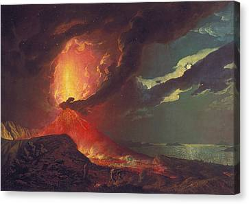 Vesuvius In Eruption, With A View Over The Islands In The Bay Of Naples Canvas Print by Joseph Wright