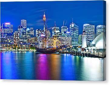 Vibrant Darling Harbour Canvas Print by Az Jackson