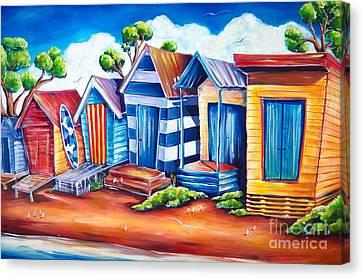 Victorian Beach Huts Canvas Print by Deb Broughton