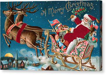 Victorian Christmas Card Canvas Print by American School