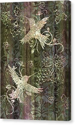 Victorian Hummingbird Green Canvas Print by JQ Licensing
