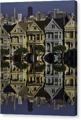 Victorian Row Reflection Canvas Print by Garry Gay