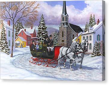 Victorian Sleigh Ride Canvas Print by Richard De Wolfe