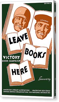 Victory Book Campaign - Wpa Canvas Print by War Is Hell Store