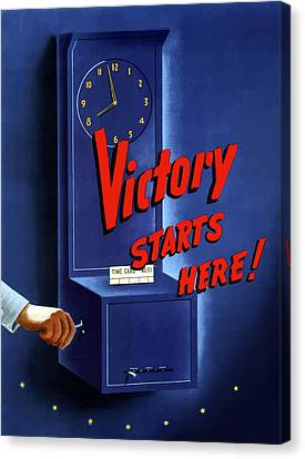 Victory Starts Here Canvas Print by War Is Hell Store