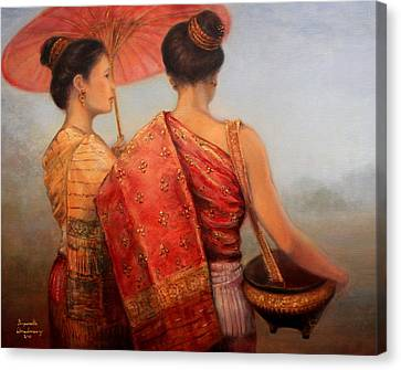 Viengchan And Luang Prabang Canvas Print by Sompaseuth Chounlamany