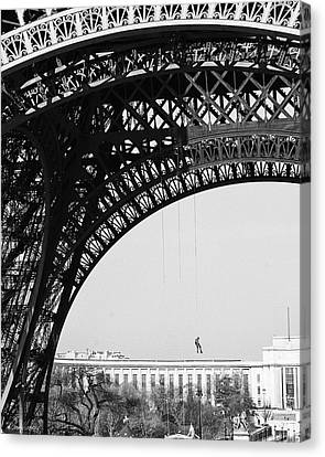 View Beneath Eiffel Tower Canvas Print by Diana Haronis