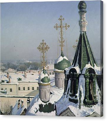 View From A Window Of The Moscow School Of Painting Canvas Print by Sergei Ivanovich Svetoslavsky