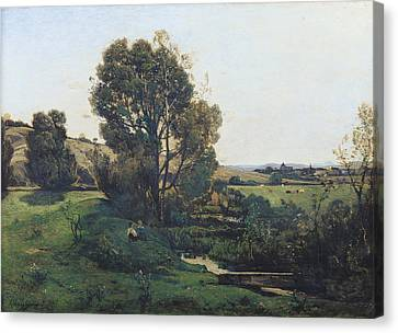 View From Moncel-sur-seine Canvas Print by Henri-Joseph Harpignies