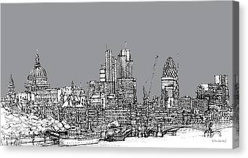 View From The Southbank With Summer In Cool Grey  Canvas Print by Adendorff Design