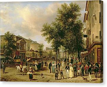 View Of Boulevard Montmartre Canvas Print by Guiseppe Canella