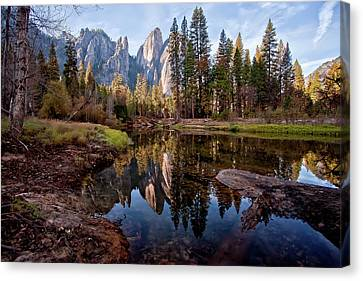 View Of Cathedral Peaks Canvas Print by photos by Crow Carol Rukliss, Photographer