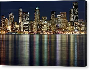 View Of Cityscape At Night Canvas Print by Stephen Kacirek
