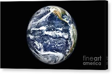 View Of Full Earth Centered Canvas Print by Stocktrek Images