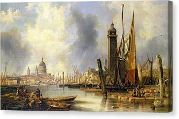 View Of London With St Paul's Canvas Print by John Wilson Carmichael