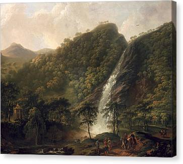View Of Powerscourt Waterfall Canvas Print by George the Elder Barret