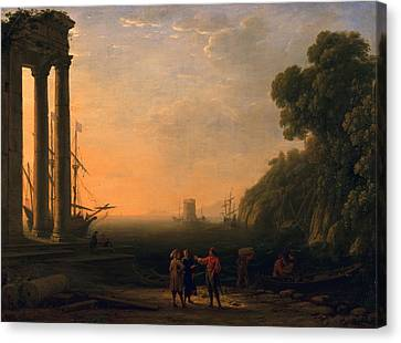 View Of Seaport Canvas Print by Claude Lorrain