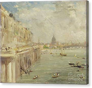 View Of Somerset House Terrace And St. Paul's Canvas Print by John Constable
