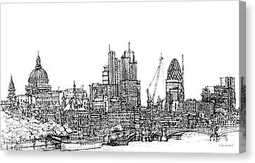 View Of St Pauls And The City  Canvas Print by Adendorff Design