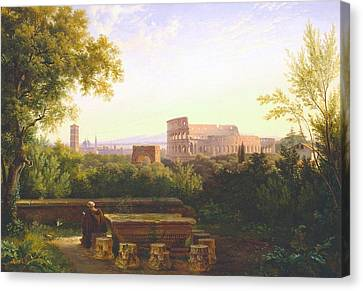 View Of The Colosseum From The Orti Farnesiani Canvas Print by Antoine Felix Boisselier