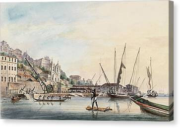 View Of The Dockyard, At Bahia Or San Salvador  Canvas Print by Thomas L Hornbrook